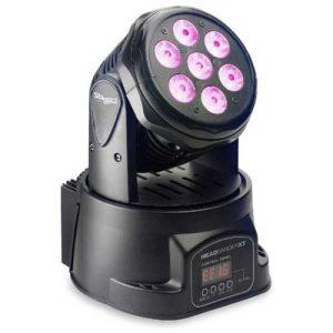 """""""مینی مویینگ"""" : دارای 7 لامپ فول کالر / چرخش 360درجه افقی و 180درجه عمودی/ قابلیت اتصال به میکسر نور DMX/قابلیت تنظیم دستی و سنسور صداو تغییر جلوه های نور/ باگارانتی و مهلت تست / جهت خرید و یا کسب اطلاعات بیشتر به سایت WWW.FADAKSOUND.IR مراجعه کنید."""